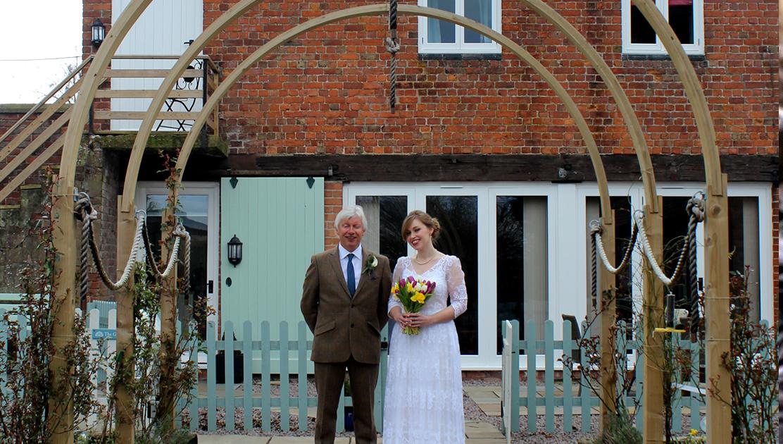 Wedding guests at Burlton Cottages